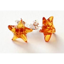 Amber silver earring