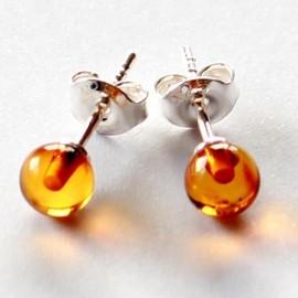 Amber silver earring s16w