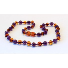 Baltic amber & amethyst teething necklace BTN1