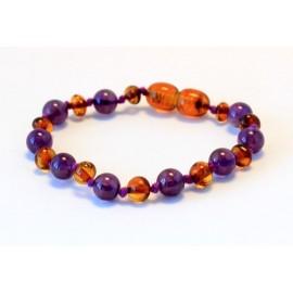 Baltic amber & amethyst teething bracelet BB101