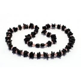 Amber & rose quartz necklace ARQ11