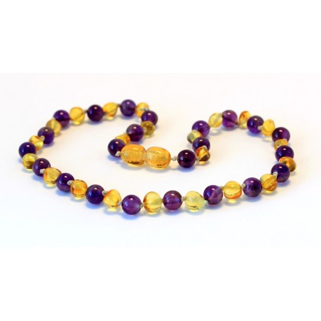 Baltic amber & amethyst teething necklace BTN4