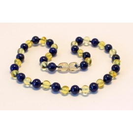 Baltic amber & lapis lazuli teething necklace BTN5