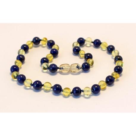 Baltic amber & lapis lazuli teething necklace BTN5