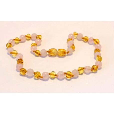 Baltic amber & rose quartz teething necklace BTN6