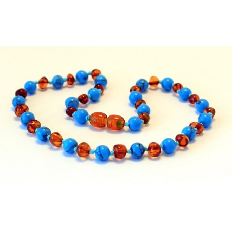Baltic amber & turqoise teething necklace BTN7