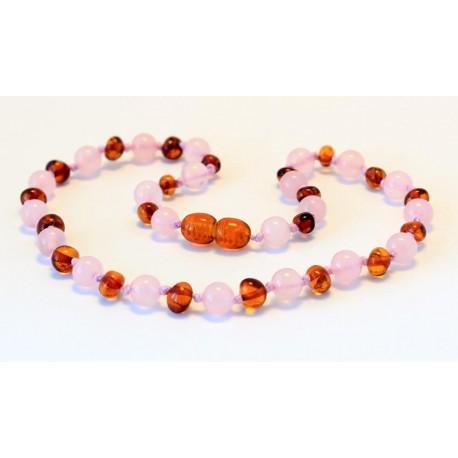 Baltic amber & rose quartz teething necklace BTN8