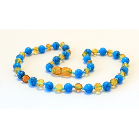 Baltic amber & turqoise teething necklace BTN9