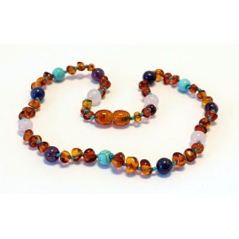 Baltic amber & amethyst & turquoise & rose quartz teething necklace BTN10