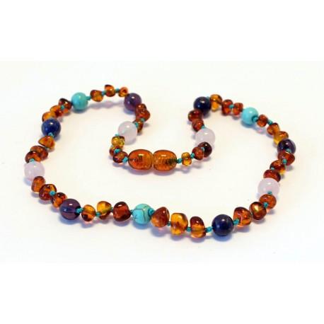 Baltic amber & amethyst & turquoise & rose quartz teething necklace BTN10