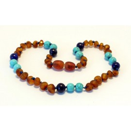 Baltic amber & lapis lazuli & turquoise teething necklace BTN11