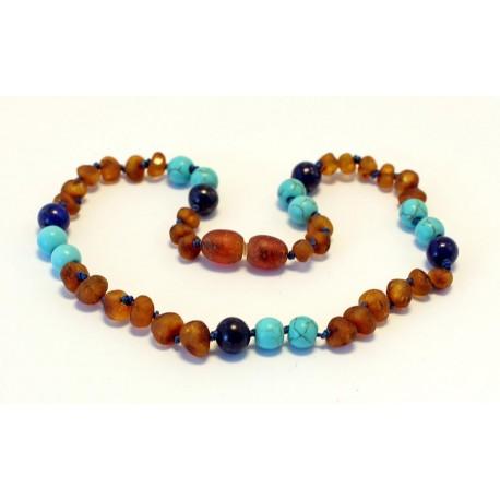 Baltic amber & lapis lazuli & turquoise teething necklace BTN11