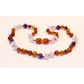 Baltic amber & amethyst & rose quartz teething necklace BTN12