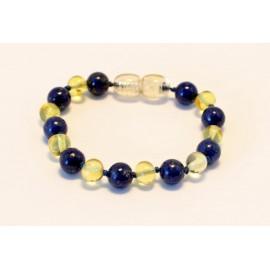 Baltic amber & lapis lazuli teething bracelet BB103