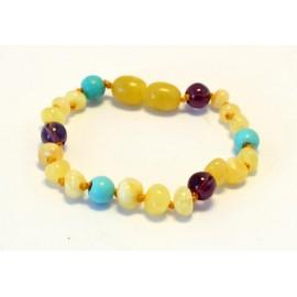 Baltic amber & turqoise& amethyst teething bracelet BB104