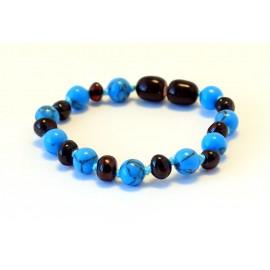 Baltic amber & turqoise teething bracelet BB106