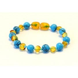 Baltic amber & turqoise teething bracelet BB108