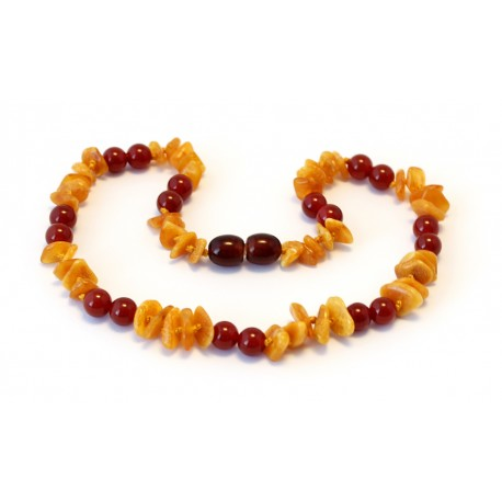 Baltic amber & gemstone teething necklace BTN13