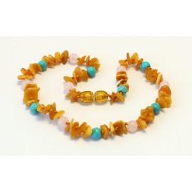 Baltic amber & gemstone teething necklace BTN14