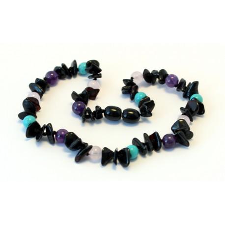 Baltic amber & gemstone teething necklace BTN15