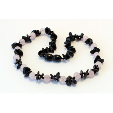 Baltic amber & gemstone teething necklace BTN16