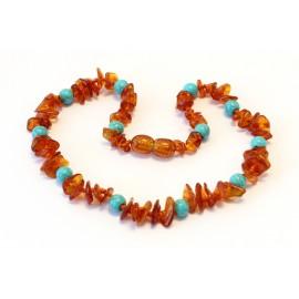 Baltic amber & gemstone teething necklace BTN17