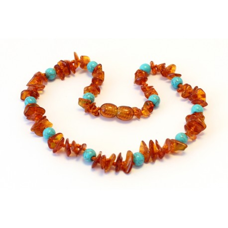 Baltic amber & gemstone teething necklace BTN17