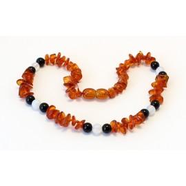 Baltic amber & gemstone teething necklace BTN18