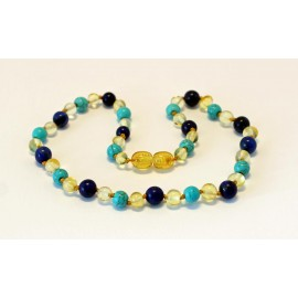 Amber and gemstones teething necklace BTN20