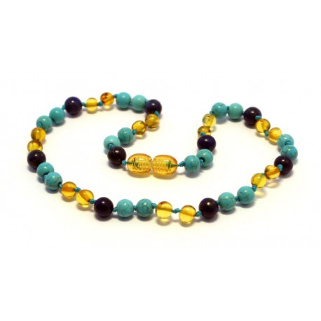 Amber and gemstones teething necklace BTN22