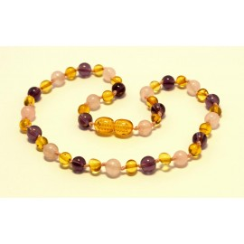 Amber and gemstones teething necklace BTN23