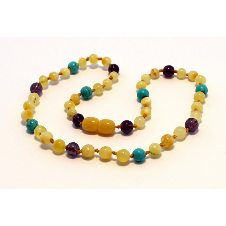 Amber and gemstones teething necklace BTN24