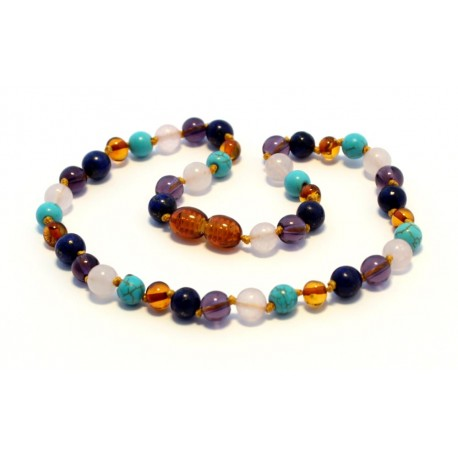 Amber and gemstones teething necklace BTN25