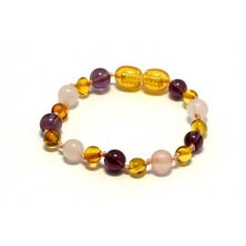 Amber and gemstones teething bracelet AG200
