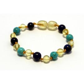 Amber and gemstones teething bracelet AG201