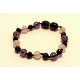 Amber and gemstones teething bracelet AG203