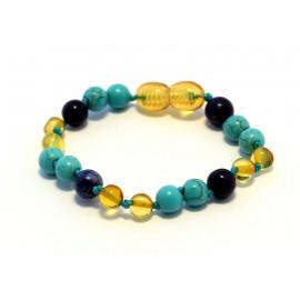 Amber and gemstones teething bracelet AG204