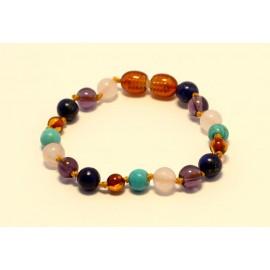 Amber and gemstones teething bracelet AG205