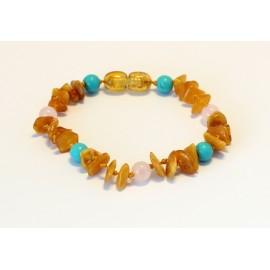 Amber and gemstones teething bracelet BB109