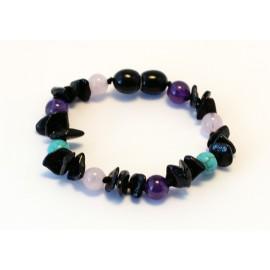 Amber and gemstones teething bracelet BB111